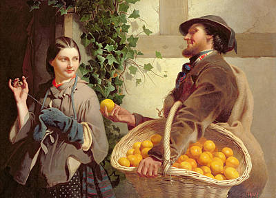 Stitching Painting - The Orange Seller  by William Edward Millner
