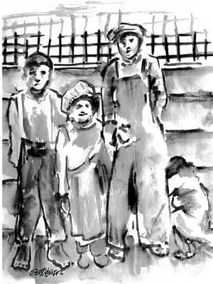Sethweaver Drawing - The Orphans by Seth Weaver