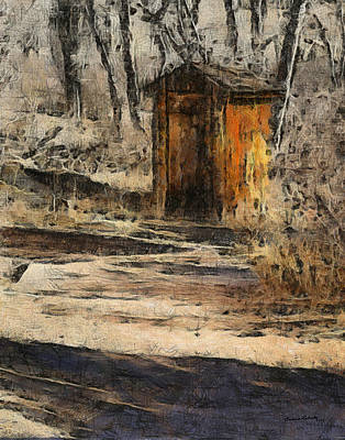 Old Buildings Digital Art - The Outhouse by Ernie Echols