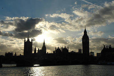 The Outline Of Big Ben And Westminster And Other Buildings At Sunset Art Print
