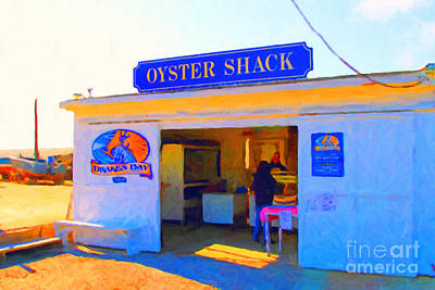 The Oyster Shack At Drakes Bay Oyster Company In Point Reyes . 7d9832 . Painterly Art Print