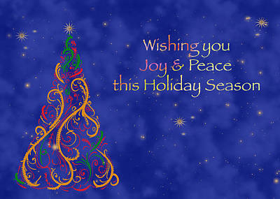 Christmas Cards Digital Art - The Paisley Holiday Tree by Joann Vitali