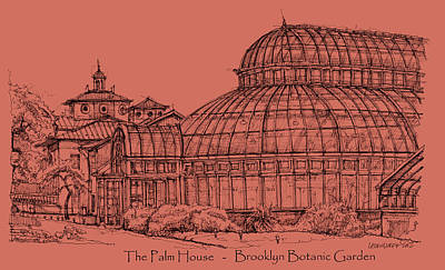 Lee-ann Drawing - The Palm House In A Salmon Pink  by Building  Art