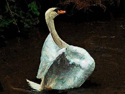 Papier Mache Digital Art - The Papier-mache Swan by Steve Taylor