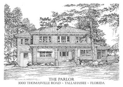 Drawing - The Parlor Tallahassee Florida by Audrey Peaty