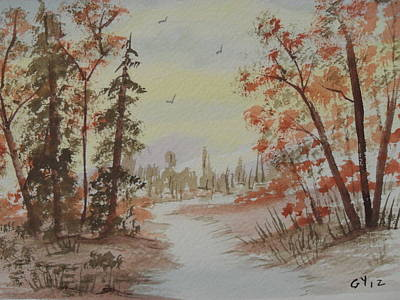 Pinetree Painting - The Pathway by Ginny Youngblood