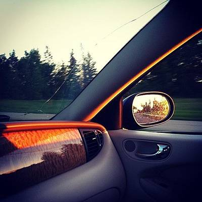 Leather Photograph - The Perfect Drive Home. #sunset #work by Sam Sana