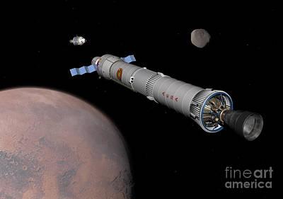 The Phobos Mission Rocket Prepares Art Print