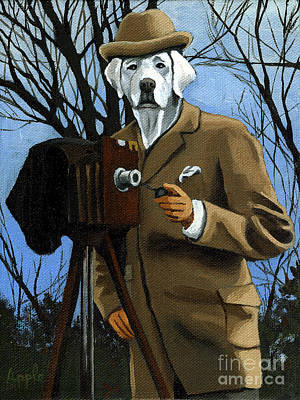 Painting - The Photographer - Dog Portrait by Linda Apple