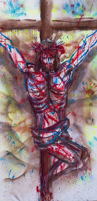 Statue Portrait Painting - The Physical Death Of Jesus by Thomas Lentz