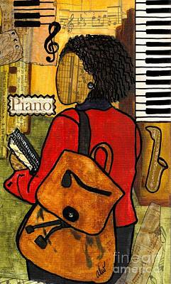 African-american Mixed Media - The Piano Lady by Angela L Walker