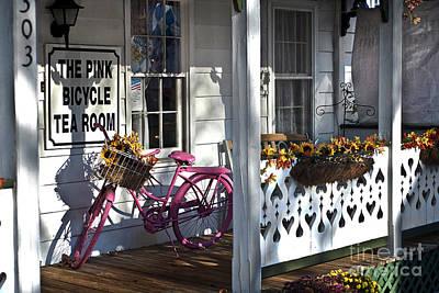 The Pink Bicycle Tea Room Art Print by Jane Brack