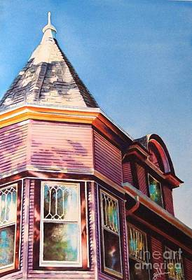 Historic Home Painting - The Pink Lady by Greg and Linda Halom