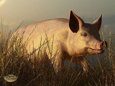 Barns Digital Art - The Pink Pig by Daniel Eskridge