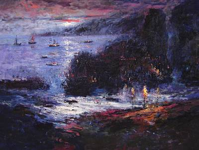 Pirate Ship Painting - The Pirates Make Home Port by R W Goetting