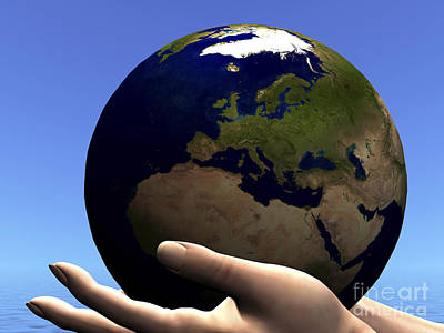 The Planet Earth Is Held In Caring Art Print by Corey Ford