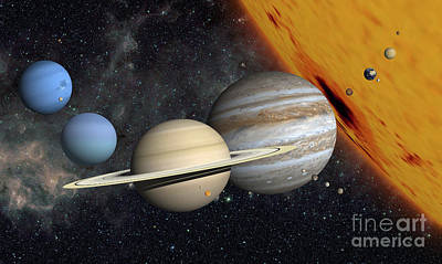 Terrestrial Sphere Digital Art - The Planets And Larger Moons To Scale by Ron Miller