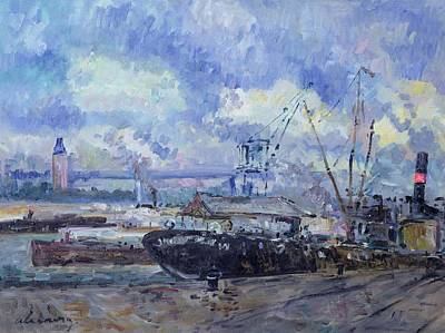 City View Painting - The Port Of Rouen by Albert Charles Lebourg