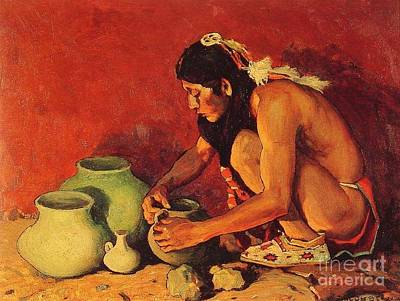 Native American Pottery Painting - The Pottery Maker by Pg Reproductions
