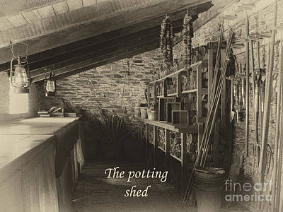 Heligan Photograph - The Potting Shed - Aged by Steev Stamford