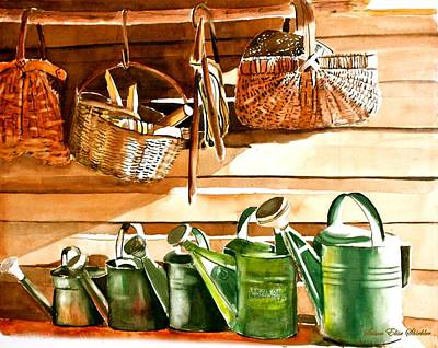 Painting - The Potting Shed by Susan Elise Shiebler