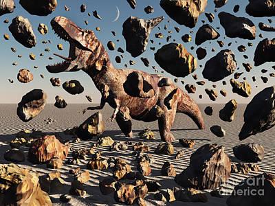 The Powerful T-rex Shatters Its Rock Art Print by Mark Stevenson