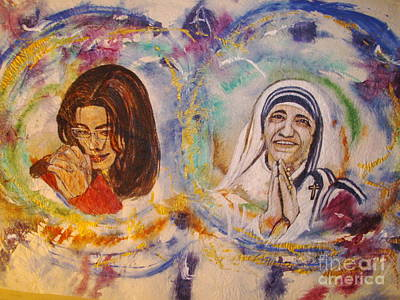 Mother Theresa Painting - The Prayer For A Better World by Jocelyne Beatrice Ruchonnet