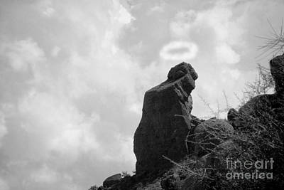 The Praying Monk With Halo - Camelback Mountain Bw Art Print