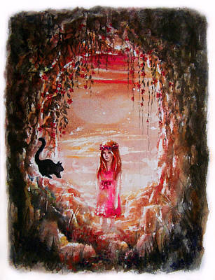 Flower Pink Fairy Child Painting - The Princess And The Cat by Rachel Christine Nowicki