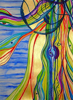 Trippy Painting - The Psychedelic Jellyfish by Erika Swartzkopf