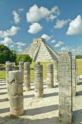 The Pyramid Of Kukulkan, (also Known As El Castillo), A Mayan Ruin, As Seen From The Thousand Columns (foreground), Chichen Itza, Mexico Art Print by VisionsofAmerica/Joe Sohm
