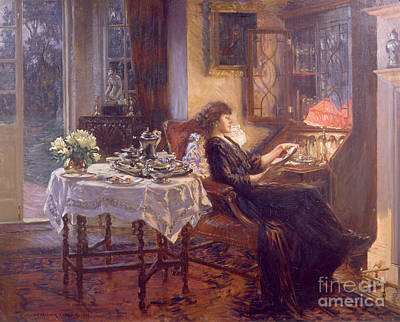 Night Lamp Painting - The Quiet Hour by Albert Chevallier Tayler