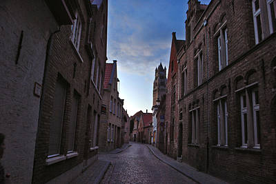 Jeka World Photograph - The Quiet Narrow Cobbled Streets Of Bruges by Jeff Rose