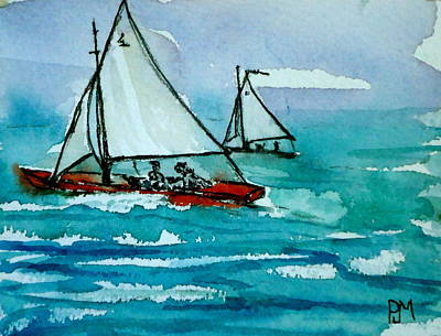 Sailboat Ocean Drawing - The Race by Pete Maier