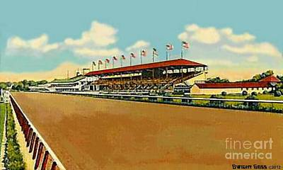 Painting - The Racetrack And Grandstand At Havre De Grace Md In 1941 by Dwight Goss