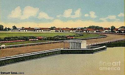 Painting - The Racetrack Stables And Judges' Stand At Havre De Grace Md 1941 by Dwight Goss