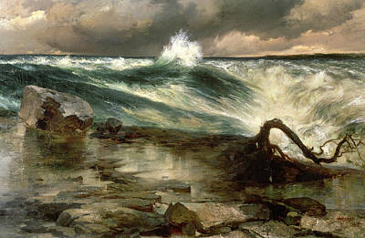 Current River Painting - The Rapids Above Niagara by Thomas Moran