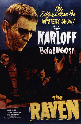 Postv Photograph - The Raven, Boris Karloff, Bela Lugosi by Everett