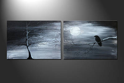 Painting - The Raven With Piece 1 And 2 by Gray  Artus