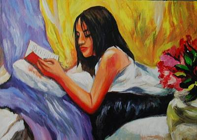 Painting - The Reader by Parag Pendharkar