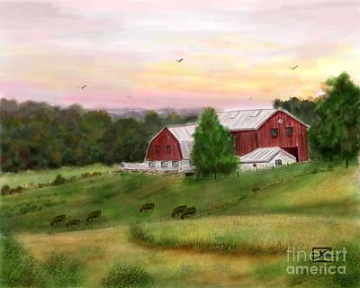 The Red Barn At Sunset Art Print by Judy Filarecki