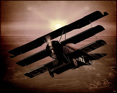 Digital Art - The Red Baron's Fokker At Sunset by Chris Lord