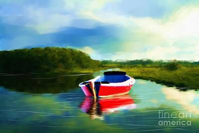 The Red Boat Art Print by Earl Jackson