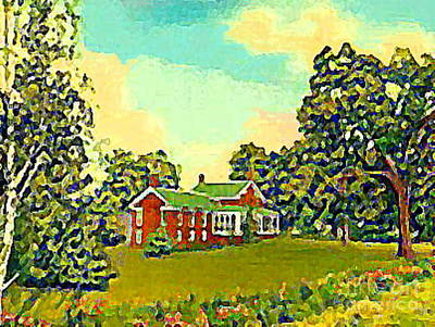 Painting - The Red Brick Tavern In Plainwell Mi In 1954 by Dwight Goss