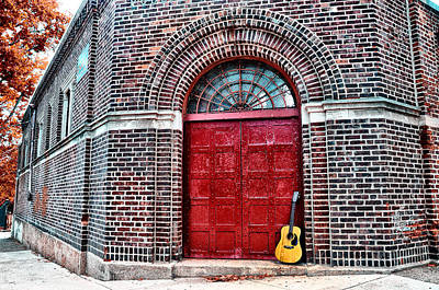 The Red Door And The Guitar Art Print
