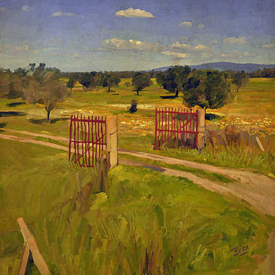Briex Painting - The Red Fence Near Pabillonis by Nop Briex