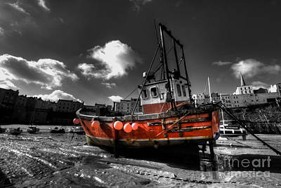 Tenby Photograph - The Red Fishing Boat by Rob Hawkins
