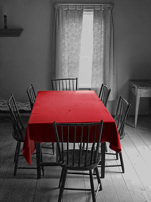 The Red Table Cloth Print by Randall Nyhof