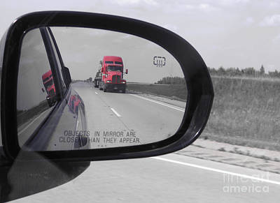 Photograph - The Red Truck. Mirror Reflections. by Ausra Huntington nee Paulauskaite