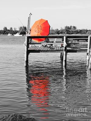 Fort Pierce Inlet Photograph - The Red Umbrella by Lynda Dawson-Youngclaus